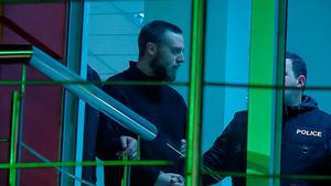 Jack Shepherd, who went on the run last year after killing a woman in a speedboat crash on the River Thames, is seen escorted inside a police station in Tbilisi, Georgia January 23, 2019 in this still image taken from IMEDI TV footage. IMEDI TV/via REUTERS