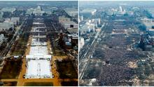 A combination of photos taken at the National Mall shows the crowds attending the inauguration ceremonies to swear in US President Donald Trump last Friday (left) and former president Barack Obama in 2009 (right). Photo: Reuters
