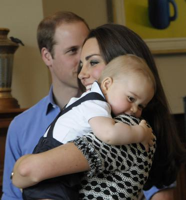 April 2014: Prince William, Duke of Cambridge, Catherine, Duchess of Cambridge and Prince George of Cambridge attend Plunkett's Parent's Group at Government House on April 9, 2014 in Wellington, New Zealand