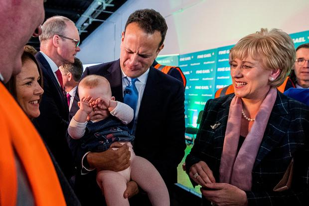 Baby blues: Taoiseach Leo Varadkar holding eight-month-old Ella Truell alongside Business Minister Heather Humphreys during the launch of the Fine Gael General Election campaign in Co Monaghan yesterday. Photo: Liam McBurney/PA Wire