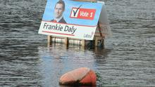Frankie Daly's election poster in the River Shannon in Limerick City.