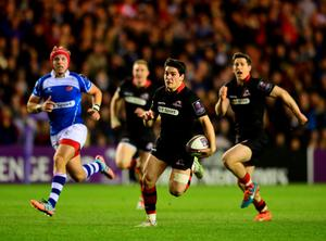 Sam Hadalgo- Clyne of  Edinburgh Rugby breaks free to scores a try in the second half during the European Rugby Challenge Cup Semi Final match, between Edinburgh Rugby and Newport Gwent Dragons at Murrayfield
