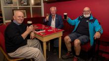 Jonathon Margetts, Ger Ó'Máille and Eddie Cats back in Freeney's on High Street, Gaway after the pubs reopen after six months closure due to Covid-19 restrictions. (Photo:Andrew Downes, Xposure)