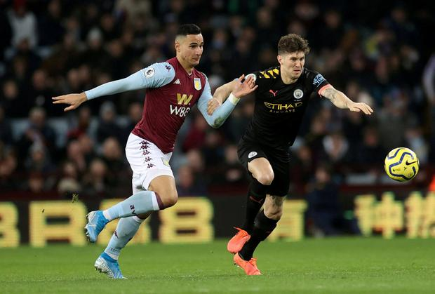 Manchester City's John Stones in action with Aston Villa's Anwar El Ghazi. Photo: Carl Recine/Action Images via Reuters