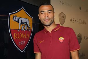 Ashley Cole poses for photographs as he is unveiled at his new club AS Roma. Photo: Paolo Bruno/Getty Images