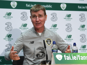 Stephen Kenny is pictured during a press conference as Ireland U21 manager. Photo by Harry Murphy/Sportsfile