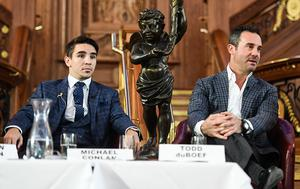 Belfast , United Kingdom - 28 October 2016; Boxer Michael Conlan with promoter Todd DuBoef, CEO of Top Rank during a press conference at Titanic Belfast in Belfast. (Photo By Ramsey Cardy/Sportsfile via Getty Images)