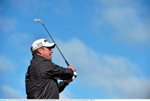 28 May 2015; Lee Westwood, England, watches his tee shot on the 13th tee box. Dubai Duty Free Irish Open Golf Championship 2015, Day 1. Royal County Down Golf Club, Co. Down. Picture credit: Brendan Moran / SPORTSFILE