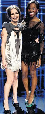 The 'thong' dress: Sharon with fellow judge Jamelia on The Voice of Ireland