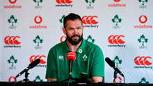 28 January 2020; Head coach Andy Farrell during an Ireland Rugby press conference at The Campus in Quinta da Lago, Portugal. Photo by Brendan Moran/Sportsfile