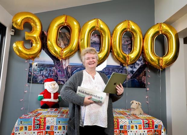 The 30,000th Independent.ie subscriber, Colette Byrne, pictured with her new ipad at her home Stillorgan, December 2020.