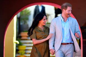 Prince Harry, Duke of Sussex and Meghan, Duchess of Sussex take part in Heritage Day public holiday celebrations in the Bo Kaap district of Cape Town, during the royal tour of South Africa on September 24, 2019 in Cape Town, South Africa. (Photo by Toby Melville - Pool/Getty Images)