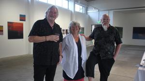 Artists Paddy lennon, Bridget Flannery, and Paul Hughes who are exhibiting in Kenmare at the Kenmare Butter Market.
