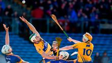 Aaron Shanagher, left, and Aaron Cunningham of Clare in action against Ronan Maher, left, and Joe O'Dwyer of Tipperary during the Allianz Hurling League Division 1A Round 3 match between Tipperary and Clare at Semple Stadium in Thurles, Co Tipperary. Photo by Matt Browne/Sportsfile