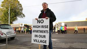 Local resident Padraig Kent, at the protest in Coolock. Photo: Mick Carolan