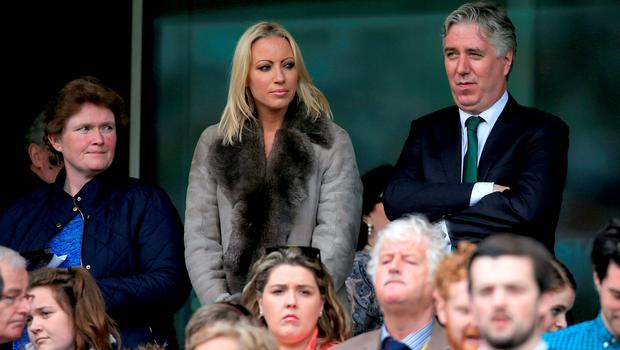 FAI chief executive John Delaney (right) with partner Emma English in the stands during the UEFA European Championship Qualifying match at the Aviva Stadium, Dublin.  Nick Potts/PA Wire