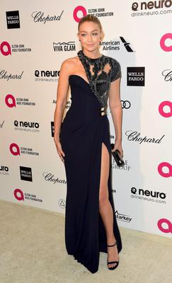 Model Gigi Hadid arrives at the 2015 Elton John AIDS Foundation Oscar Party in West Hollywood