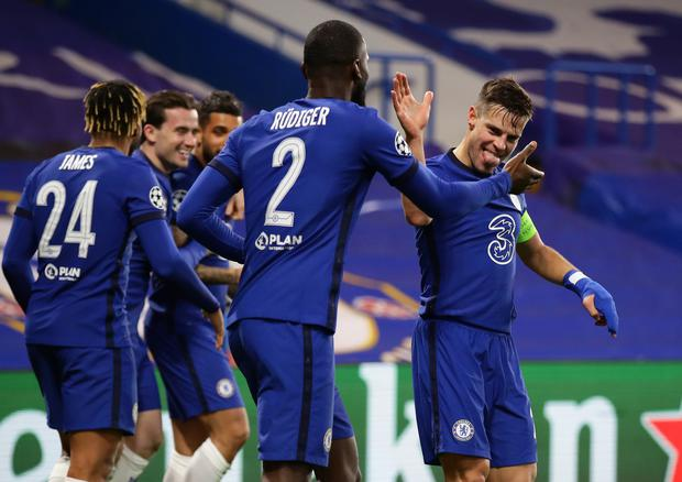 Chelsea's Emerson celebrates scoring their second goal with team-mates during the Champions League Round of 16 second leg win over Atletico Madrid at Stamford Bridge, London. Photo: Reuters/David Klein