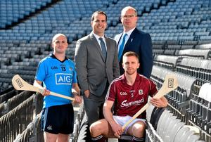 Pictured at the launch of the AIG Fenway Hurling Classic and Irish Festival are, from left, Dublin hurler David O'Callaghan, Danny Glant, Global Head of Sponsorship, AIG, Galway hurler Aidan Harte and Declan ORourke, General Manager, AIG Ireland. Dublin will take on Galway in Super 11s hurling at Fenway Park, Boston, on November 22nd. Croke Park, Dublin.
