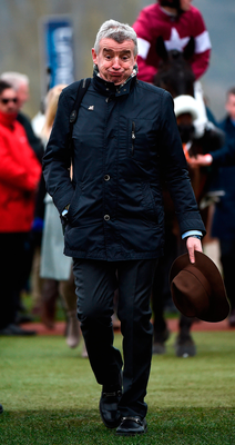 Owner Michael O'Leary reacts as he enters the winners' enclosure after winning the Martin Pipe Conditional Jockeys' Handicap Hurdle with Champagne Classic. Photo: Seb Daly