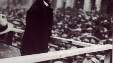 Eoin MacNeill, chief of staff of the Irish Volunteers, addresses a Sinn Féin meeting at College Green, Dublin, in 1919