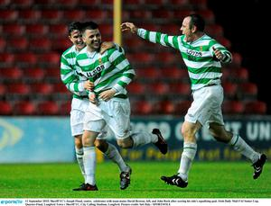 11 September 2015; Sheriff YC's Joseph Flood, centre,  celebrates with team-mates David Browne, left, and John Rock after scoring his side's equalising goal. Irish Daily Mail FAI Senior Cup, Quarter-Final, Longford Town v Sheriff YC, City Calling Stadium, Longford. Picture credit: Seb Daly / SPORTSFILE