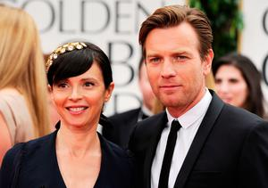 Ewan McGregor (R) and Eve Mavrakis arrive at the 69th Annual Golden Globe Awards held at the Beverly Hilton Hotel on January 15, 2012 in Beverly Hills, California.  (Photo by Frazer Harrison/Getty Images)