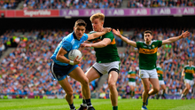 Diarmuid Connolly of Dublin is tackled by Tommy Walsh of Kerry