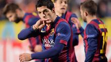 Barcelona's Luis Suarez celebrates his goal against APOEL Nicosia during their Champions League Group F soccer match at GSP  Stadium in Nicosia November 25, 2014. REUTERS/Andreas Manolis (CYPRUS - Tags: SPORT SOCCER)