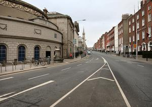 A Virtually empty Parnell Square East in Dublin on St Patrick's Day 2020.Picture Credit:Frank McGrath 17/3/20