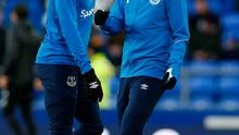 Everton's Richarlison and James McCarthy during the warm up before the match