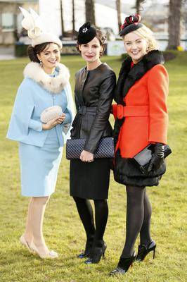 Marie Orborne from Kildare winner of the Hennessy Best Accessory, Caroline Sleiman Market Development manager with Moet Hennessy and Louise Allen from Meath winner of the Hennessy best dressed lady 2014