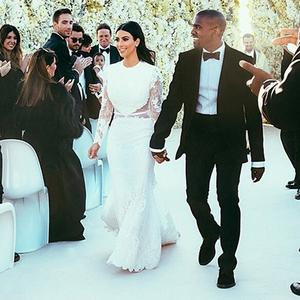 Kim Kardashian and Kanye West's wedding day.