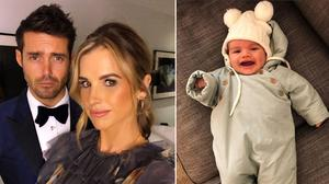Spencer Matthews and wife Vogue, left, and their baby son Theodore, right