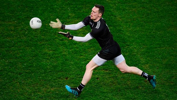 Monaghan goalkeeper Rory Beggan gallops upfield on Saturday night against Dublin before offloading to a team-mate. Photo: Stephen McCarthy/Sportsfile