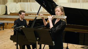 Michael McHale in Henry Wood Hall London playing the Croppy Boy with Fiona Kelly, bass flute. Photo credit, Dawid Laskowski