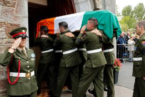 The remains of Thomas Kent are brought to St Nicholas Church Castlelyons, Co Cork Pic: Mark Condren