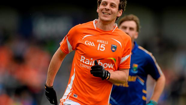 27 June 2015; Jamie Clarke, Armagh, celebrates scoring his side's second goal. GAA Football All-Ireland Senior Championship, Round 1B, Armagh v Wicklow. Athletic Grounds, Armagh. Picture credit: Piaras Ó Mídheach / SPORTSFILE