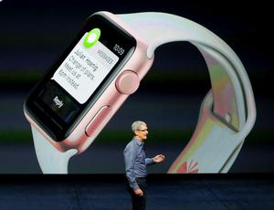 Apple CEO Tim Cook during the media event in San Francisco on Wednesday