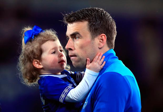 Everton's Seamus Coleman with family during the lap of honour after the Premier League match at Goodison Park, Liverpool.