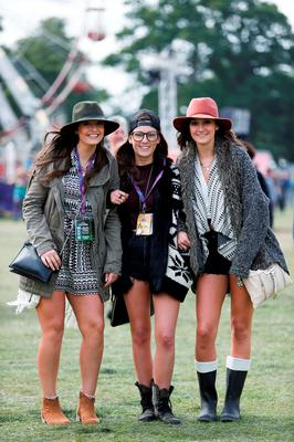 FAO DAVID CONACHY : Pictured (l-r) was Niamh Martin, Laura McGann and Aoife Martin from Ennis, Co Clare at Electric Picnic, Stradbally, Co Laois. Picture Conor McCabe.