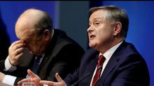 Minister for Finance Michael Noonan and Minister for Public Expenditure Brendan Howlin speaking at the Spring Economic Statement at Government Buildings
