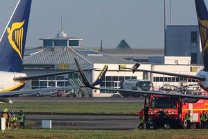 The two Ryanair aircraft that were involved in the collision at Dublin Airport