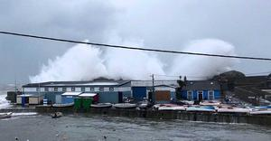 Waves crashing over Bulloch Harbour in Dalkey Photo: PJ Drudy
