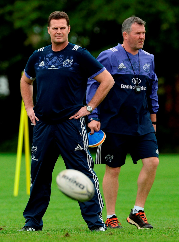 Munster director of rugby Rassie Erasmus and head coach Anthony Foley in Limerick Photo: Diarmuid Greene/Sportsfile
