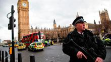 A police officer stands guard on Westminster Bridge. Photo: GETTY