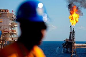 Gas is flared off on a Petroleos Mexicanos offshore platform producing oil from the Ku-Maloob-Zaap field in the Gulf of Mexico