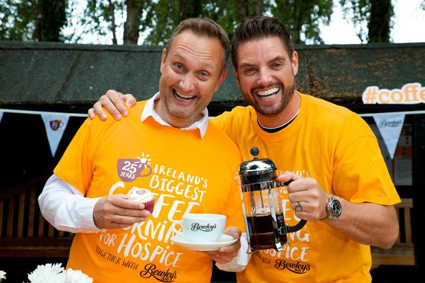 Mario Rosenstock, left, and Keith Duffy launch Ireland's Biggest Coffee Morning for Hospice, together with Bewley's