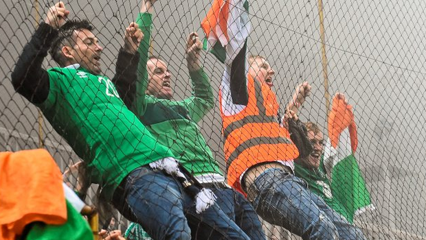 Irish fans during the play-off first leg in Bosnia Photo: David Maher / SPORTSFILE