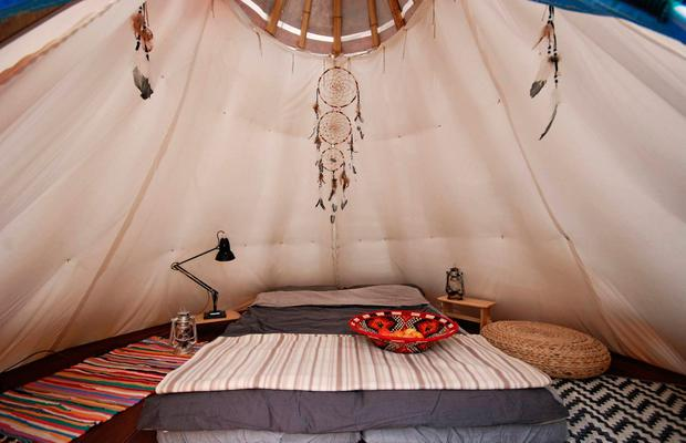 Inside and outside the teepee